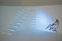 Zilla Leutenegger · At Night, 2009, Videoinstallation mit Objekt, Holz, Zeichnung, Acryl auf Holz, Projektion, Farbe, Courtesy Galerie Peter Kilchmann, Zürich