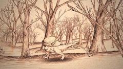Antoine Roegiers · Les paysages des sept péchés capitaux, nach Pierre Bruegel d. Ä., 2011, (Serie), Feder und Sepia auf Papier, 23x41cm, Courtesy Galerie Guy Bärtschi, Genf