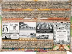 Grammophon, 1915, Seite aus ‹Geographische und allgebräische Hefte›, Heft No. 13, S. 33, Bleistift, Farbstift und Collage auf Zeitungspapier, 72,2x99cm, Courtesy Adolf Wölfli-Stiftung, Kunstmuseum Bern