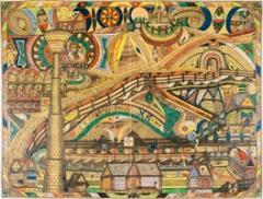 Felsenau, 1907, Bleistift und Farbstift auf Papier, 74,3x99,3 cm, Courtesy Adolf Wölfli-Stiftung, Kunstmuseum Bern