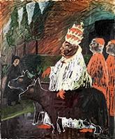 Links: Friedrich Dürrenmatt · Hundeliebender Papst (Papes aimant les chiens), 1966, Öl auf Leinwand, 64,5x53,5 cm, CDN, Courtesy Confédération suisse. Graphisme affiche: The Bells Angels Rechts: Walter Ohlson · Jesus-Spokeman to Distorsion (The Bethel Series), 1960, Sammlung Jim Shaw
