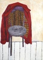 Dieter Hall · Stuhl und rote Lederjacke, 2007, 135x95cm, Öl auf Leinwand ©ProLitteris. Foto: Christian Schwarz