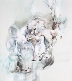 Himmel, Arsch und Zwirn, 3, Acryl auf Leinwand, 65x57cm. Foto: Geoffrey Cottenceau