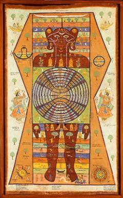 Kosmischer Mensch (Iokapurusha), Indien, 1884, Pigmente auf Stoff, 230x140cm, CourtesyLinden-Museum Stuttgart. Foto: A. Dreyer