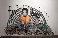 Omar Ba · Espace privé, 2015, Öl, Deckfarbe, Acryl, Kugelschreiber, Bleistift auf Verputz. Foto: Robert Hofer