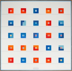 Léon Wuidar · 25 carrés rouges ou bleus, 1981, Öl auf Leinwand, 122x122cm ©ProLitteris, Collection BNB. Foto: Patrick Van Den Branden