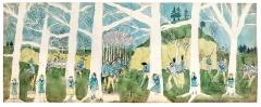 Henry Darger · à la seconde bataille de McHollester Run elles sont persuivies [sic]. C'est une zone tropicale. Pour une raison inconnue les arbres sont morts. Kohlepapier, Bleistift, Aquarell, Gouache auf Papier, 48,6x120,6cm, ©ProLitteris, Courtesy Eric Emo/Musée d'Art Moderne/Roger-Viollet
