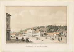 Der erste Bahnhof von St.Gallen, um1860, Lithografie