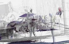 Loretta Fahrenholz · Erlebnishof Millers, Anschirren, 2015, Digitaldruck auf Clearfilm, 299x470cm