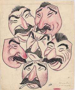 Gregor Rabinowitsch · Die verschiedenen Gesichter Stalins, um 1945/50, Tusche und Farbstift, Courtesy Silver Hesse Zürich