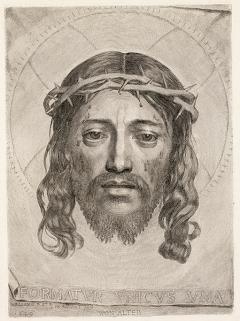 Claude Mellan · La Sainte Face, 1649, Kupferstich, II/II, 427x312mm, Inschrift: Formatur unicus una/non alter, dt. Die einzigartige gemacht/wie keine andere. Foto: Olivier Christinat