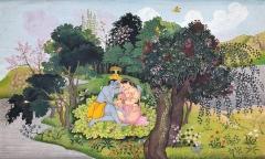 Nachfolge von Nainsukh von Guler · Krishna und Radha als Liebespaar in einer paradiesischen Landschaft, 1775/1780, Indien, Pahari-Region. Foto: Rainer Wolfsberger