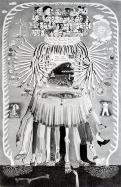 Sabian Baumann · Selbst in kosmischer Form (aus der Serie Interpretationen), 2016, Bleistift auf Papier, 200x130cm