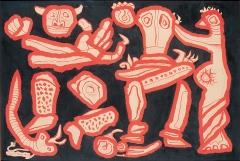 Max von Moos · Persische Fabel, 1953, rote Tusche und Tempera, auf Papier aufgezogen, 67,4x97,8cm ©ProLitteris
