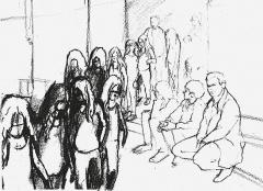 Philippe Parreno · Tino Sehgal's Annlee, gezeichnet im Palais de Tokyo Paris, 2013, Bleistift auf Papier