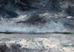August Strindberg · Glace sur le rivage, 1892, Öl auf Malkarton, 25x34cm, Privatsammlung