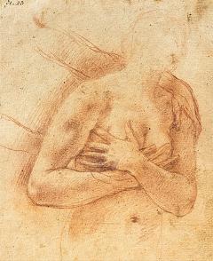 Antonio d'Enrico, genannt Tanzio da Varallo zugeschrieben · Evas Verteibung aus dem Paradies, 17.Jh., Studie für ein Fresko, Rötel auf Büttenpapie, 156x129mm, Musée Jenisch Vevey. Foto: Julien Gremaud