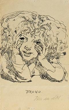 Giovanni Giacometti · Porträt Bruno Giacometti, Feder, Tusche auf Büttenpapier (aus einem Heft), 180x114mm, Musée Jenisch Vevey. Foto: Julien Gremaud