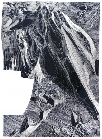 PA System: Alexa Hatanaka (Canada) Nuna / Land Handprint Linoschnitt auf dem Washi Japan Papier