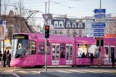 Pipilotti Rist · Monochrome Rose, 2016, Tram Linie 14. Foto: Pierre Albouy