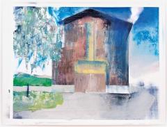El Frauenfelder · Scheune, 2016, Öl, Acryl, Sprühfarben auf Leinwand