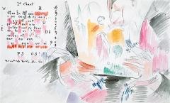 Alice Bailly · 1er Chant (Liebesbrief an ihren Mäzen Werner Reinhart, «Dearest Play-Boy...»), Farbstift und Aquarell auf Papier, 22x35,8cm