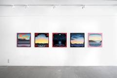 Caroline Bachmann · Peinture; Stefan Banz · Installation, Ausstellungsansicht, Espace dAM, Romainmôtier, 2017