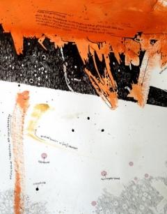 Filib Schürmann · unsorgfältig aufgeräumtes schlachtfeld meiner gedanken (2), Detail, 2016, 140x307cm, Acryl, Spray und Tusche auf Papier