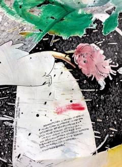 Filib Schürmann · persönlicher vorschlag eines (ziemlich lebendigen) grabsteins in möglichst ferner zukunft, 2016, Detail, Acryl, Spray und Tusche auf Papier, 200x150cm