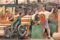 Alexander Samochwalow · Textilfabrik, 1929, Öl, Tempera auf Leinwand, 68x98 cm, Staatliches Russisches Museum, St. Petersburg ©ProLitteris, Courtesy Kunstmuseum Bern