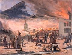 Francis Furet · L'Incendie d'Albeuve, Musée gruérien, 96x123cm