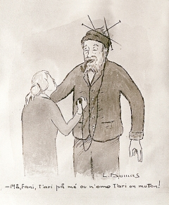 Louis Dumas · Le bonnet de laine, um 1960, Sommentier (Kanton Freiburg), Zeichnung. Foto: N. Repond