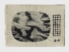 Stéphane Landry, Ohne Titel, 1991-1994, Deckfarbe auf linierter Heftseite, 14,7 x 21 x cm, Courtesy Musée Jenisch, Schenkung Guislaine und Jean-Pierre Landry und Association uno-due-trait. Foto: Julien Gremaud