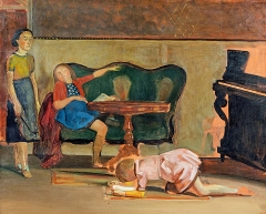 Balthus · Le Salon, 1941, Studie, Öl auf Leinwand, 65,1x81cm, Sammlung Harumi Klossowska de Rola ©ProLitteris, Courtesy Gagosian Gallery, Genf