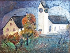 Helen Dahm · Kirche von Oetwil, 1935, Öl auf Karton, Courtesy Kunstmuseum Thurgau