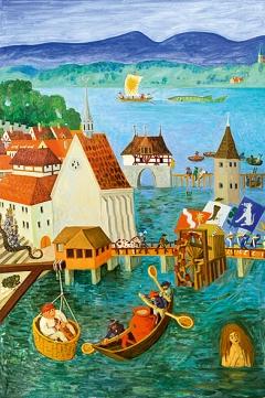 Emil Medardus Hagner · Mythologia Turicencis (linke Tafel des Triptychons), undatiert, Ölmalerei auf Holz, Courtesy Sue Jaisli