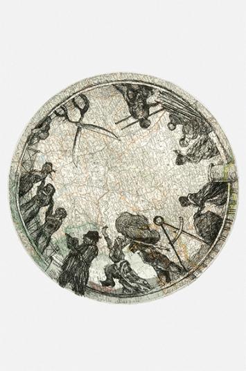 William Kentridge · Small Atlas Procession, 2000, Gruppe von 3 Radierungen auf Papier (jedes auf einer Seite aus Stielers Hand-Atlas, Gotha: Justus Perthes, 1906), Motiv: je 43,6x35,5cm; Blatt: je 53x45,3cm ©Goodman Gallery Johannesburg and Cape Town