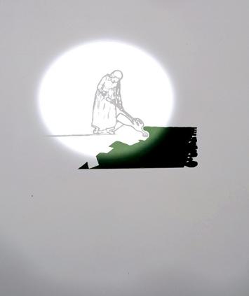 Delete 2, 2006, Video mit Wandzeichnung, Acryl auf Wand, s/w-Projektion, Ton, Loop, 70x100 cm. Courtesy Galerie Peter Kilchmann, Zürich