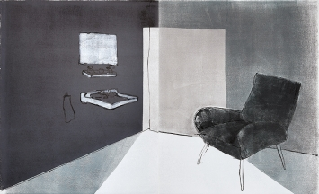 Mezzanotte, 2016, Diptychon, Monotypie auf Büttenpapier, 117,5x189 cm