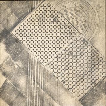 Sari Dienes, Tred Squares · um 1953-55, Frottage auf Webril, gerahmt, Blatt: 91,4x91,4 cm, Kunstmuseum Basel, Ewige Dauerleihgabe der Hüni-Michel-Stiftung © ProLitteris. Foto: Martin P. Bühler