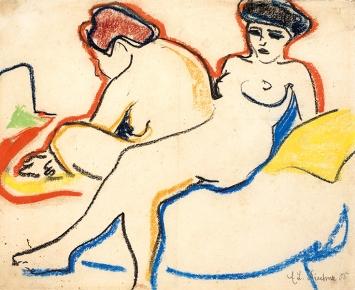 Ernst Ludwig Kirchner · Zwei Akte auf Lager (Zwei Modelle), 1907/08, Schwarze und farbige Kreiden auf geripptem Doppelpapier, 34,6 x 42,8 cm, Kunstmuseum Bern, Legat Cornelius Gurlitt 2014