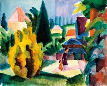 August Macke · Im Schlossgarten von Oberhofen, 1914, Aquarell, Graphit auf Papier auf Karton, 23,2 x 28,9 cm, Kunstmuseum Bern, Legat Cornelius Gurlitt 2014
