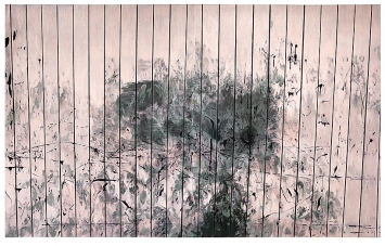 Illarramendi · EA n°220, 2017, Farbstift auf Leinwand, 230 x 370 x 3 cm