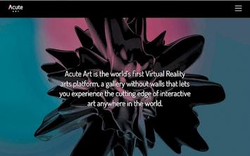 Acute Art · Einstiegsseite und Projektseiten von Marina Abramović und Olafur Eliasson, Screenshots, 2017