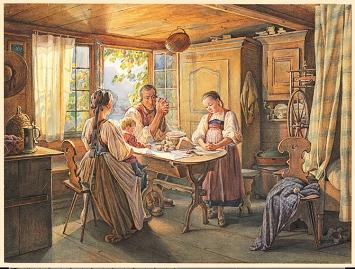 Friedrich Wilhelm Moritz (1783-1855) · Bauernfamilie beim Tischgebet, 1841/42, Aquarell, Gouache und Bleistift auf Papier, Museum zu Allerheiligen Schaffhausen