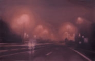 Silvia Gertsch Movie, 1999, Ausstellungsansicht Kunsthalle Winterthur und Einzelbild, Acryl hinter Glas, Lack auf Glas, 77 x 119 cm, Foto: Reinhard Zimmermann