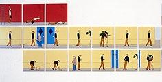 The Man without one Way, 1999, 171 laminierte Deltaprints, je 21 x 21 cm, total 17,6 m, nach einem Muster gehängt, das von Notenschrift und Computerspielen abgeleitet ist. Installationsaufnahmen (Ausschnitt): Bent Ryberg; Foto: Courtesy Galerie Magnus Karlsson, Stockholm
