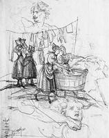 Martin Disteli · Die Wäscherinnen, o.D., Skizze