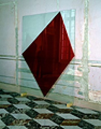 «On Stage», 2000, flexibles Triptychon, Öl hinter Glas, je 240 x 180 cm, Palazzo Ferretto, Genua