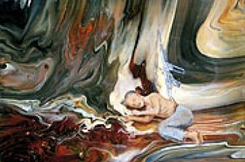 Ohne Titel, 2002, Öl, Email und Enkaustik auf Hartfaserplatte, 19,7 x 29,5 x 2 cm
